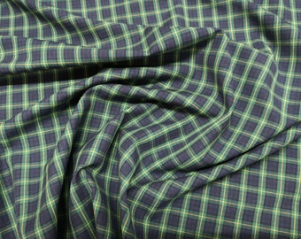 """Green/Navy Blue/Yellow - Flat Weave 100% Cotton Tartan Fabric Material - Double Sided - 112cm (44"""") wide"""
