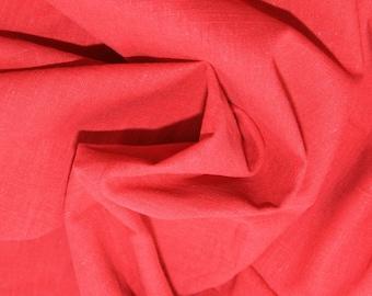 "Red - Linen Look 100% Cotton Dress Fabric Material - Metre/Half - 58"" (145cm) wide"