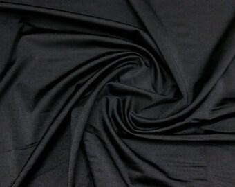 "Black - Plain Nylon/Spandex All-Way Stretch Fabric Material - 150cm (59"") wide per metre / half"