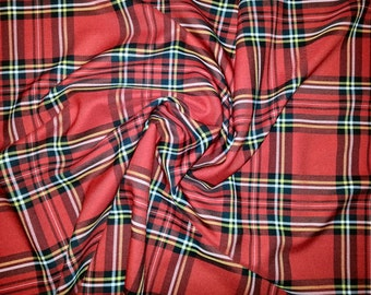 "Red (Royal Stewart Big) - Tartan Fabric - PolyViscose - Metre/Half - 59"" (150cm) wide"