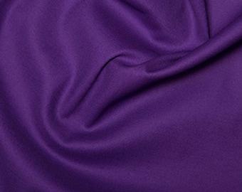 "Purple - Plain Cotton Stretch Sateen Fabric Dress Material - 146cm (57"") wide"