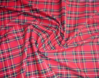 """Royal Stewart - Flat Weave 100% Cotton Tartan Fabric Material - Double Sided - 147cm (58"""") wide"""