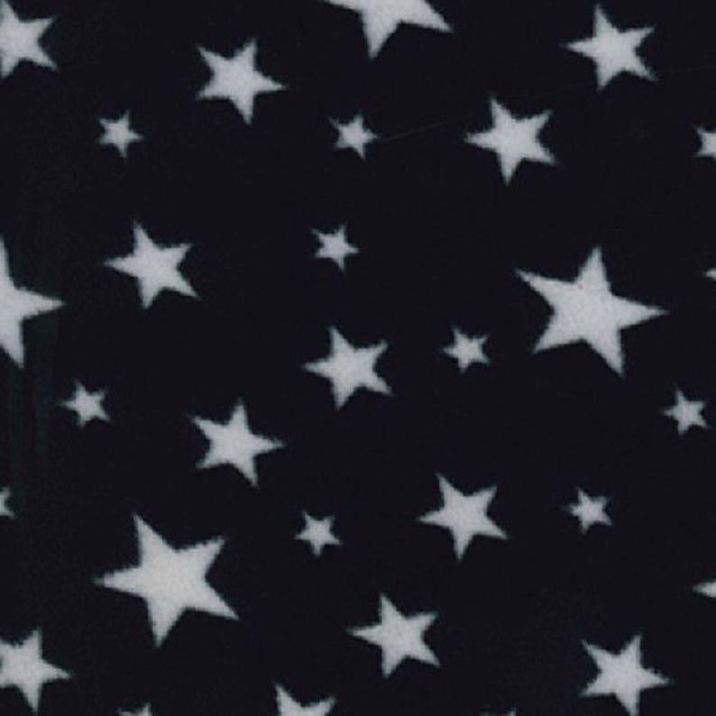 White Stars on Black  Polar Fleece Fabric  Metre/Half  Anti image 0