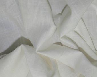 "Ivory - Linen Look 100% Cotton Dress Fabric Material - Metre/Half - 58"" (145cm) wide"