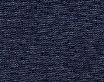 "Dark Colour - Lightweight Washed 4oz Denim 100% Cotton Fabric Material 145cm (57.5"") Wide"