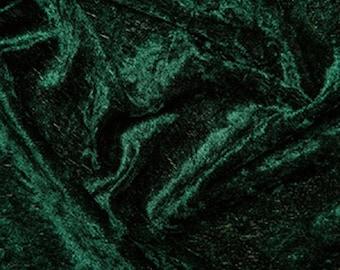 """Bottle Green Crushed Velvet Velour Fabric Material - Polyester - 150cm (59"""") wide"""