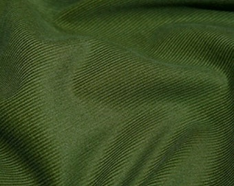 """Olive Green - Needlecord Cotton Corduroy 21 Wale Fabric Material - 140cm (55"""") wide"""