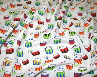"""Fancy Drums on White - PolyCotton Print Fabric Material - Metre/Half - 44"""" (112cm) wide"""