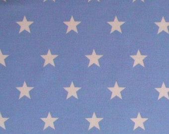 "White Stars on Pale Blue (20mm) - 100% Cotton Poplin Dress Fabric - Material - Metre/Half - 44"" (112cm) wide"