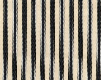 """Black on Ivory - 100% Cotton Ticking Stripes Fabric Material - 137cm (53"""") wide"""