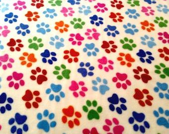 "Paw Print on Cream - Polar Fleece Fabric - Metre/Half - Anti Pil - 150cm (59"") wide"