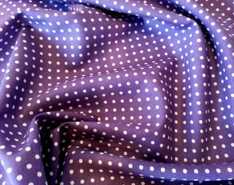 "Purple - 100% Cotton Poplin Dress Fabric Material - 3mm Polka Dot / Spot - Metre/Half - 44"" (112cm) wide"