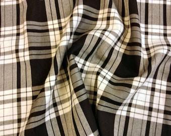 "Black / White (Menzies) - Tartan Fabric - PolyViscose - Metre/Half - 59"" (150cm) wide"