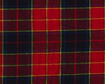 """Navy Blue/Red - Brushed Cotton Check Fabric Material - Metre/Half - 54"""" (137cm) wide"""