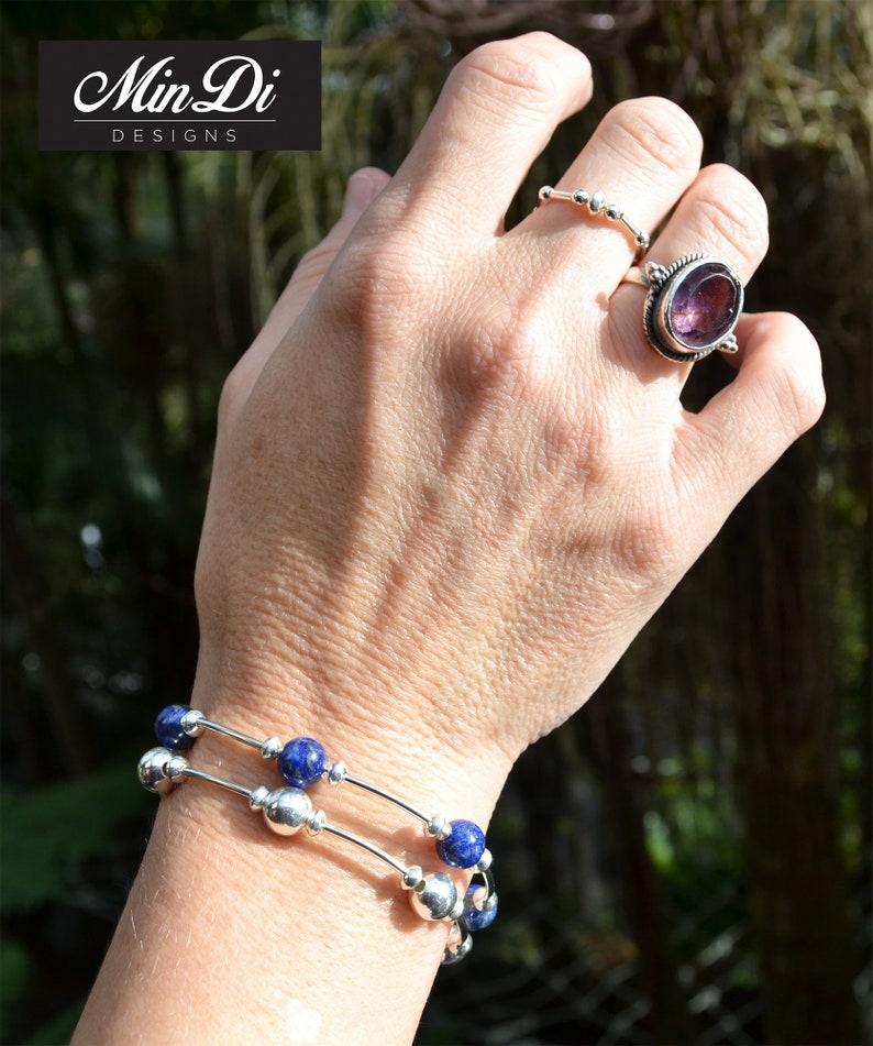 Handmade stretch bracelet with Sterling Silver /& Lapis Lazuli.