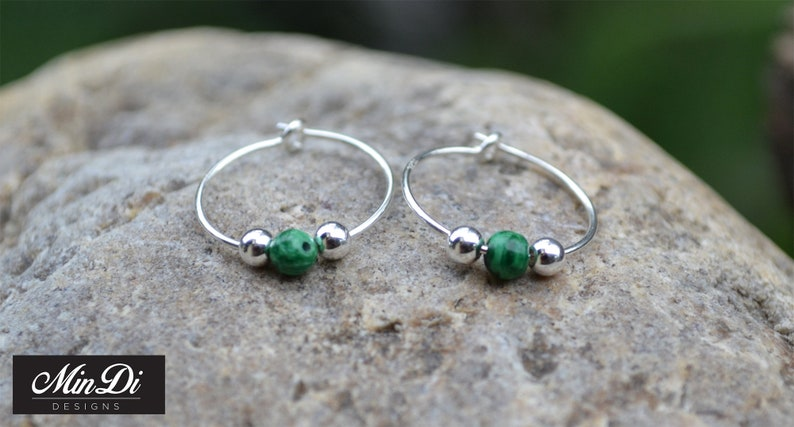 pair of handmade earrings with sterling silver /& malachite. Earrings