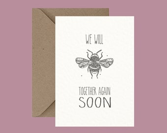 Animal Pun Greeting Card, Bumble Bee, Miss you, Alternative Cards, Little Dot Creations