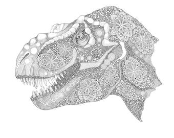 Tyrannosaurus Rex - Dinosaur - Paleontology - A4 A3 print