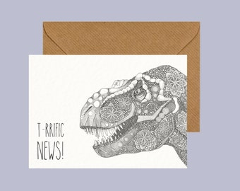 Animal Greeting Card, Dinosaur, Illustration, Pun Humor Humour, Congratulations, Alternative Cards, Little Dot Creations