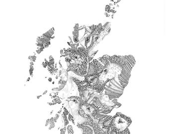 Bonnie Beasts O' Scotland (Map) A4 A3 print