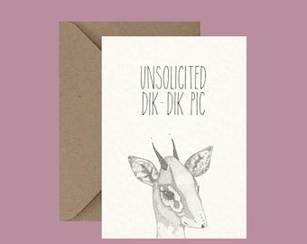 Dik Dik Animal Pun Greeting Card, Rude Funny Card, Alternative Cards, Little Dot Creations