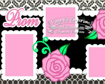 Scrapbook Page Kit Prom High School Dance 2 page Scrapbook Layout Kit 033