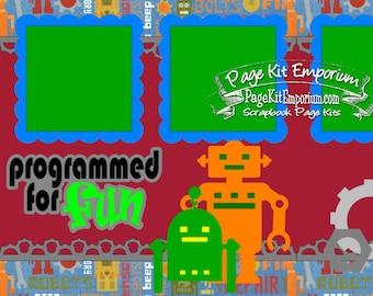 Scrapbook Page Kit Robots Programmed For Fun Boy Die Cuts 2 page Scrapbook Layout Kit 098