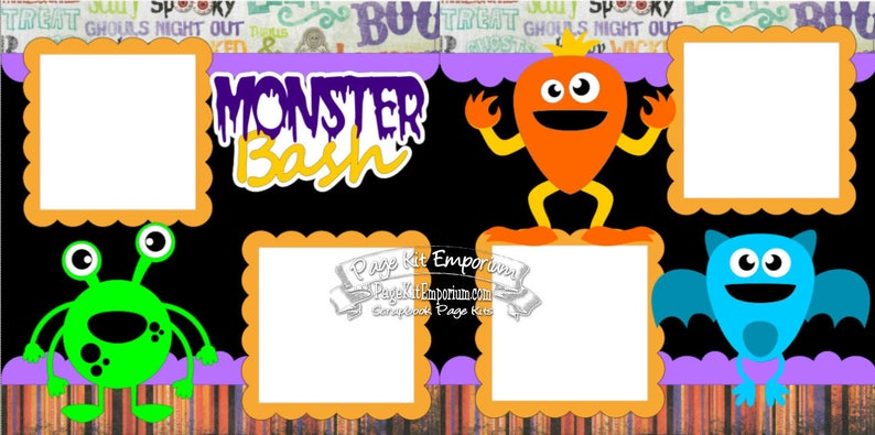 Scrapbook Page Kit Halloween Party Monster Bash Boy Girl Baby image 0