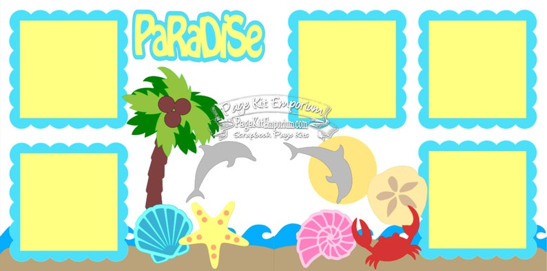 Scrapbook Page Kit Layout Summer Beach Sea Vacation Boy Girl 2 image 0