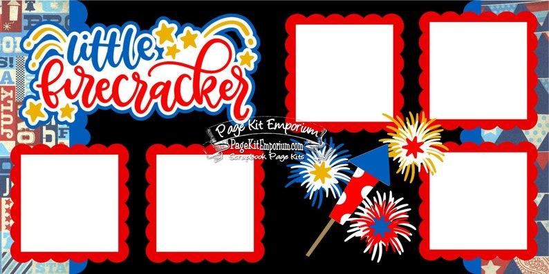 Scrapbook Page Kit Little Firecracker July 4th Independence image 0