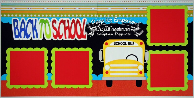 Scrapbook Page Kit Back To School Bus Boy Girl Preschool image 0