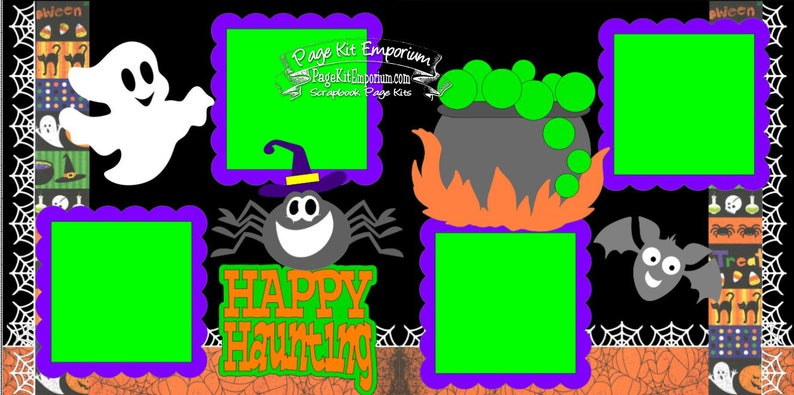Scrapbook Page Kit Halloween Happy Haunting Spider Ghost Boy image 0