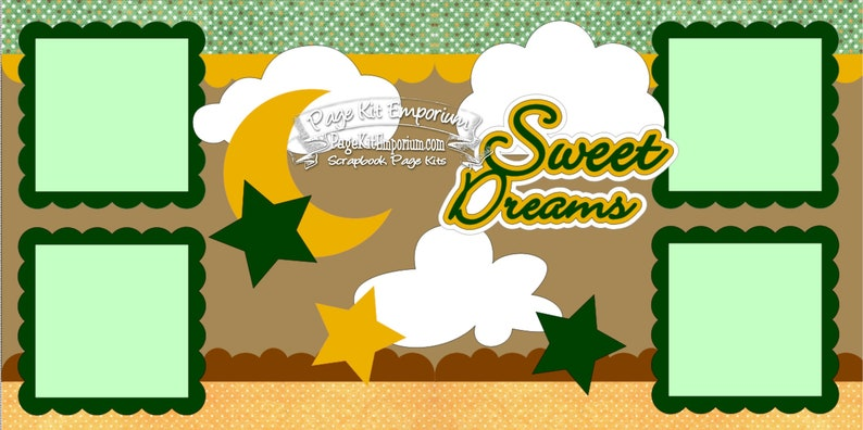 Scrapbook Page Kit Sweet Dreams Baby Girl Boy 2 page Scrapbook image 0
