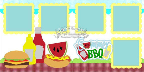 scrapbook page kit summer bbq picnic cookout 2 page scrapbook etsy