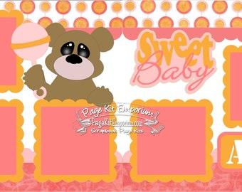 Scrapbook Page Kit Sweet Baby Girl 2 page Scrapbook Layout Kit 068