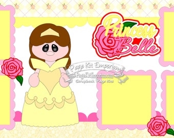 Scrapbook Page Kit Princess Girl Beauty Beast Belle 2 page Scrapbook Layout Kit 143