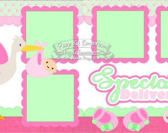 Scrapbook Page Kit Baby Girl Sepcial Delivery Stork 2 page Scrapbook Layout Kit 159