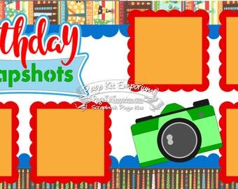 Scrapbook Page Kit Birthday Snapshots, Boy, Girl, 2 page Scrapbook Layout Kit 031