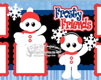 Scrapbook Page Kit Snow Frosty Friends Snowman Winter 2 page Scrapbook Layout Kit 039