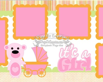 Scrapbook Page Kit Baby It's a Girl 2 page Scrapbook Layout Kit 079