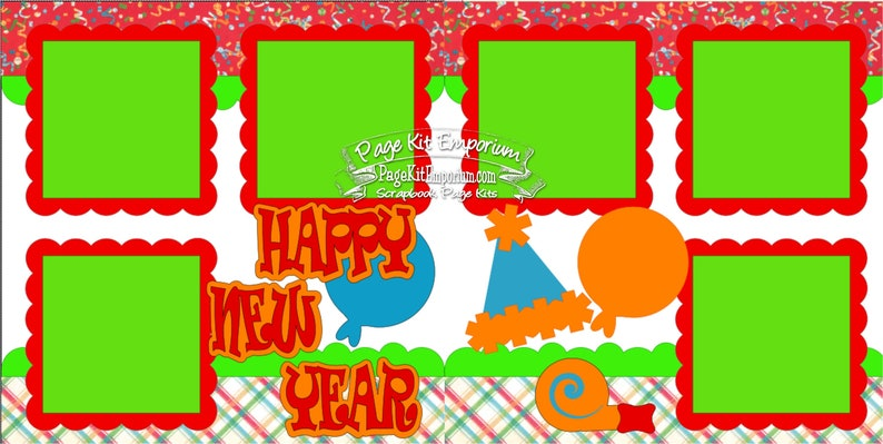 Scrapbook Page Kit Happy New Year 2 page Scrapbook Layout 043 image 0