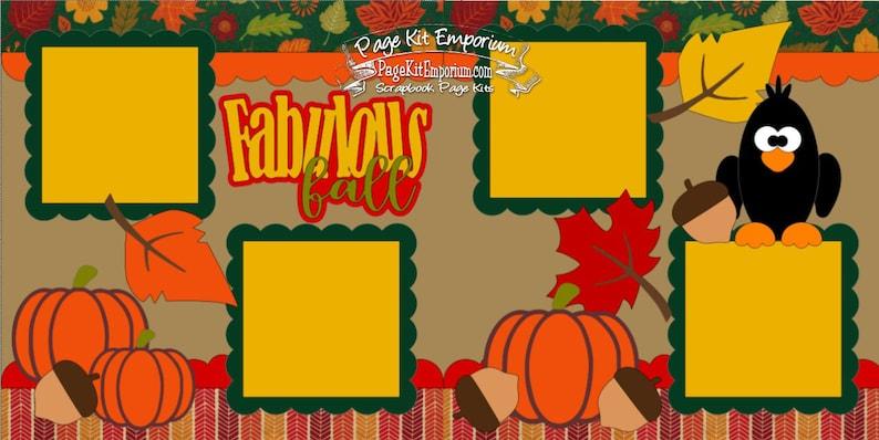 Scrapbook Page Kit Fabulous Fall Leaves Pumpkins Bird Boy Girl image 0
