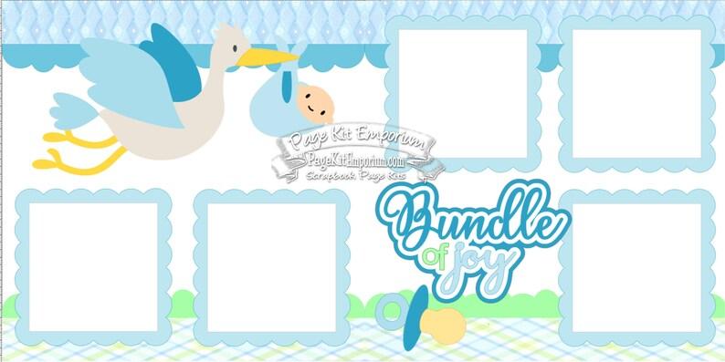 Scrapbook Page Kit Baby Bundle of Joy Boy Stork Shower 2 page image 0