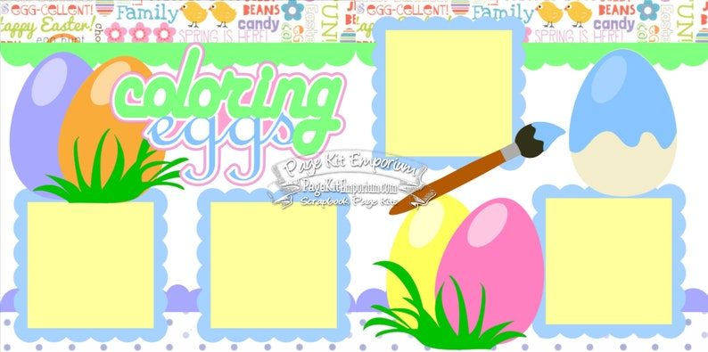 Scrapbook Page Kit Easter Coloring Eggs Spring Boy Girl 2 page image 0