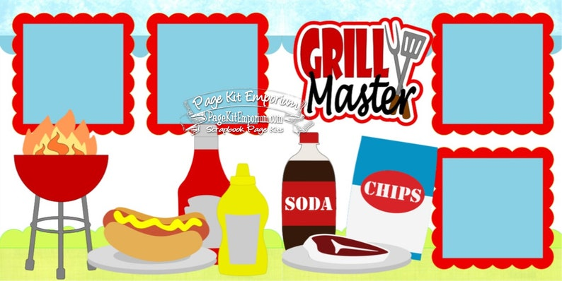 Scrapbook Page Kit Layout Grill Master Summer Cookout BBQ image 0