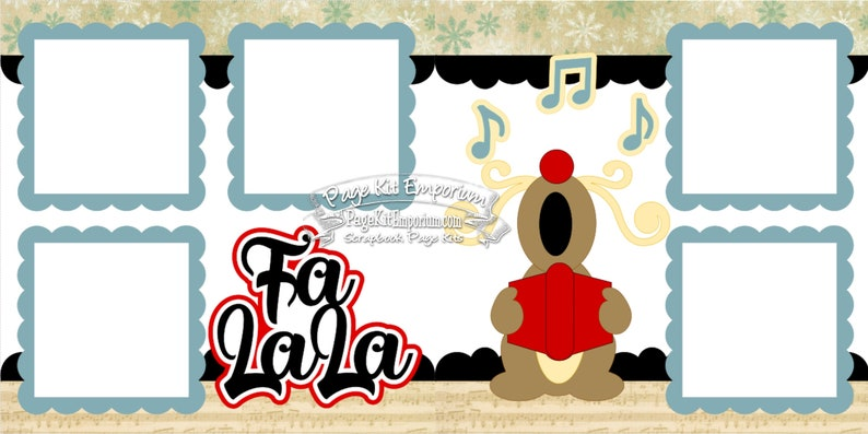 Scrapbook Page Kit Christmas Reindeer Caroling Boy Girl 2 page image 0