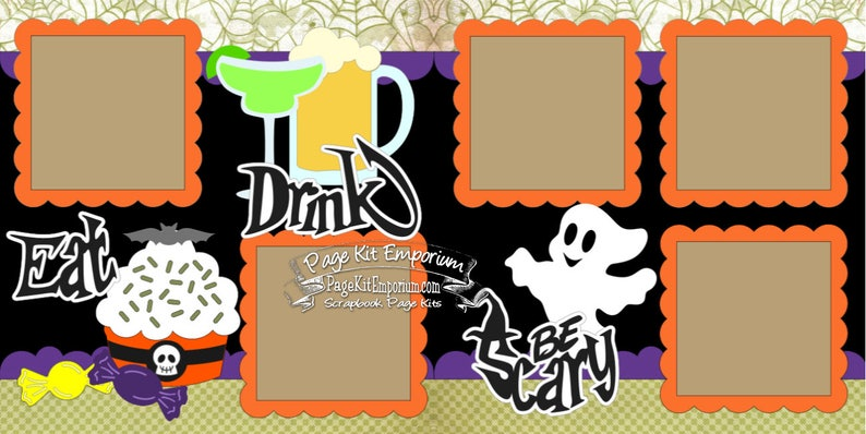 Halloween Party Scrapbook Page Kit Eat Drink Be Scary Boy Girl image 0