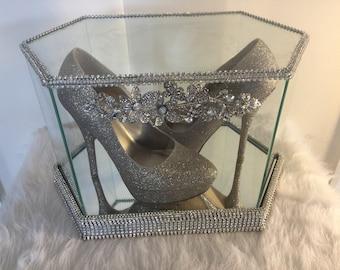 81a7e580289 Bling Display Glass Case weddibg case display crystalized glass display  case glass shoe display case