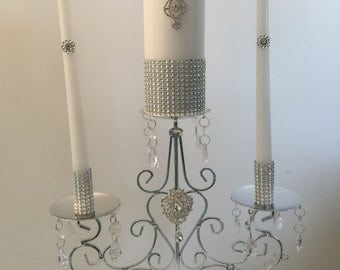 White Unity Candle Set with Tall Silver Metal Holder