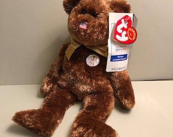 007f3ab9d4c Plush Brown Soccer Bear Beanie Baby - FIFA World Cup Bear Champion